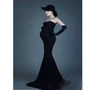 🌟 孕婦照 拍攝 媽媽 大肚裙 黑色 彈力 長裙 拍攝 影樓 服裝 🤰🏼