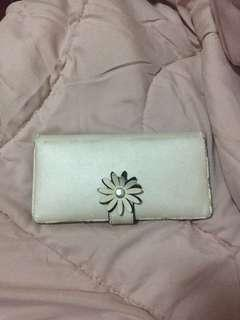 Leather Floral Cream Wallet