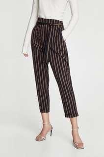 ZARA Navy Striped Paper Bag Trouser