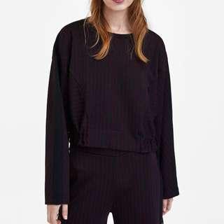 Zara Pinstriped Sweatshirt with Drawstrings