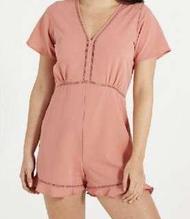 Ladies Pink Short Sleeve Playsuit/Romper Size XS