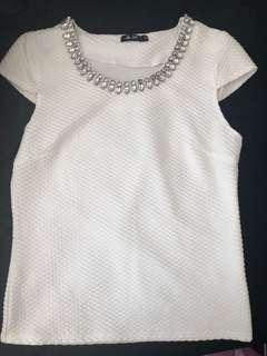 White Jewelled Top