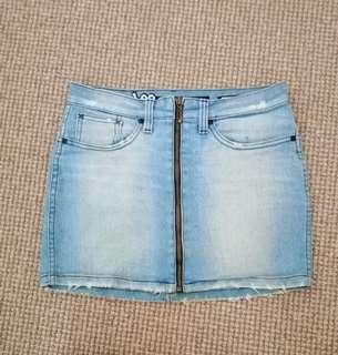 NEW Lee NEW light mid denim mini skirt zip high waisted 6