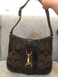Coach Signature Logo Brown Stripe Hobo Shoulder Bag