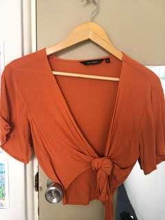 Glassons orange crop / tie up shirt