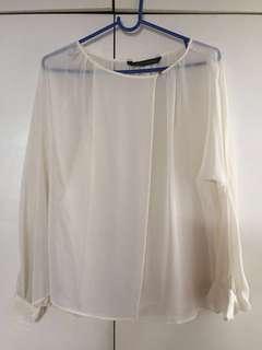Zara Overlap White Top