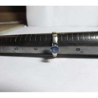 LADIES 14K WHITE GOLD SOLITAIRE NATURAL SAPPHIRE AND DIAMOND RING