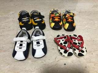1-3 years old leather shoes and Havaianas