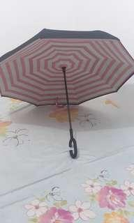 Payung cantik, gagang C. warna Pink pastel. Baru beli, salah kirim warna yg jual. Harga Nett