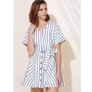 AWD Perpetual Striped Flare Dress (Navy)