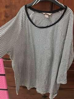 h&m+ plus stripes tshirt