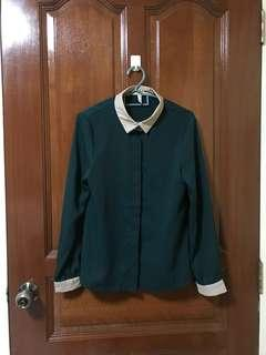 BN Green Chiffon OL Blouse Top Shirt