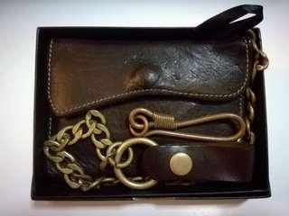 Leather Wallet with Brass Chain