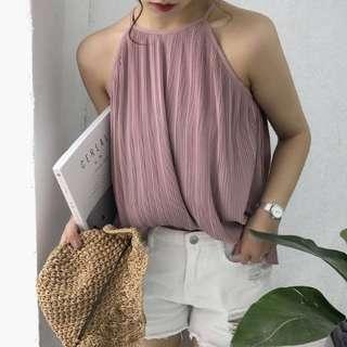 Dirty nude pink stripe pattern vest top 直間背心上衣