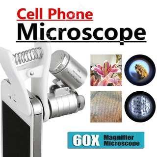 🚚 手機 60X 微型 顯微鏡 帶雙燈源 LED 燈 紫外光 60倍 放大鏡 早教 幼兒 兒童 自然 科學 教學 早教 教育 實驗 教材 寶石 鑑定 珠寶 檢驗 驗鈔 染色體 cell phone microscope 60X optical