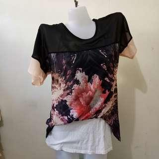 Korean chiffon Top with Floral design and sando attached