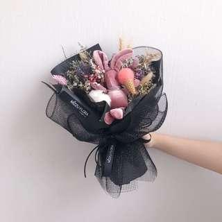 🚚 Bunny Bouquet | Dried flower bouquet | Birthday Gift | Valentine's Day Gift | Flower delivery | 干花 花束 |鲜花配送 |情人节花束