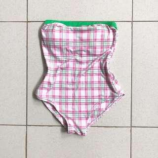 vintage pink and green checkered one piece swimwear