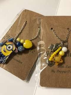 Set of 2 Minion Necklace with Initial Y
