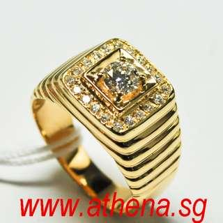 JW_DR_1098 JEWELLERY 916 YG DIAMOND RING D1-0.35CTS D20-0.25CTS 9.89G