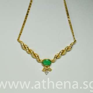PP_SC_001 JEWELLERY 916/20K YG JADE [TYPE A] NECKLACE WITH DIAMOND D67-1.35CTS 19.60G [CERT]