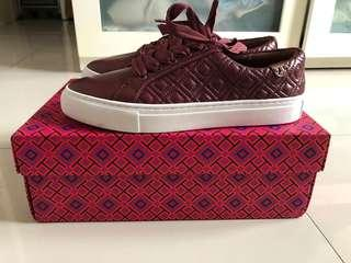 tory burch quilted sneakers maroon