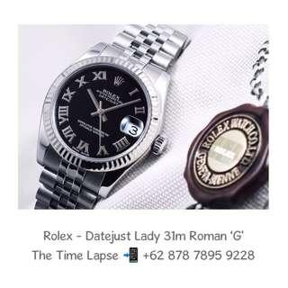 Rolex - Datejust Lady 31m, Roman Black Dial Stainless Steel 'G'