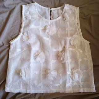 White Crop Top with Floral Appliques
