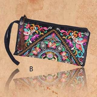 Ethnic colorful Embriodered zipper pouch