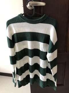 🚚 針織毛衣綠白相間