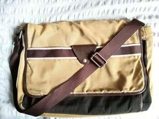 Authentic Fossil Canvas Leather Messenger Bag