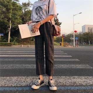 (2Col) Grid Checkered Culottes