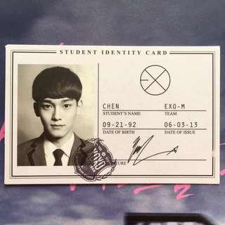 EXO XOXO Chen Jongdae Official Photocard