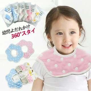 🚚 外貿西松屋/純棉嬰兒圍兜/六層紗布花瓣圓形/口水巾/360度旋轉圍兜