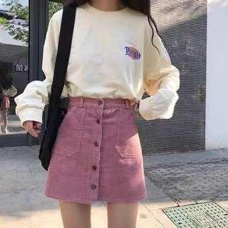 [🔥HOT SELLING🔥] KOREAN PINK SUEDE A-LINE SKIRT💕