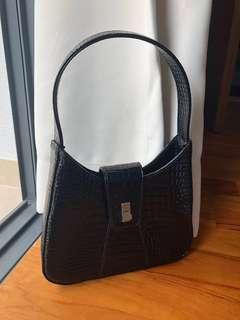 espirit black patent handbag