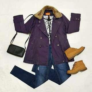 ☇LP☇Violet Trench Coat with Faux Fur