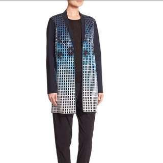 BNWT Elie Tahari Women's Blue Laser Cutout Neoprene Coat size XS