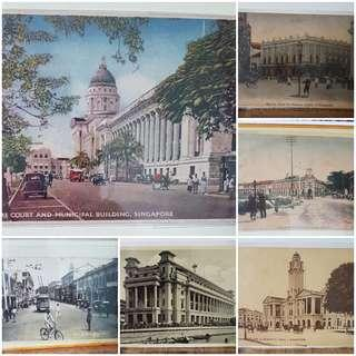 Old postcards of Singapore scenes