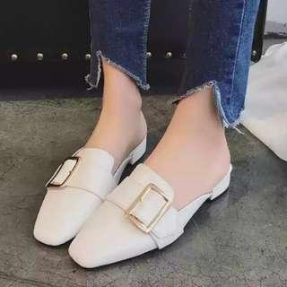 Korean White Shoes Leather PU cover toe head Sandals slippers