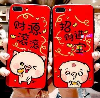 iPhone /OPPO/vivo 手機系列♥新年 豬年  可愛 財源滾滾 招財進寶 小豬創意  鋼化玻璃 手機殼