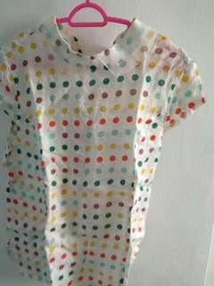 Colourful polka dots retro blouse