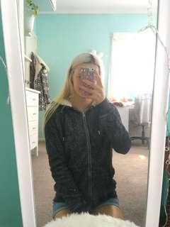 Grey fur lined hoodie