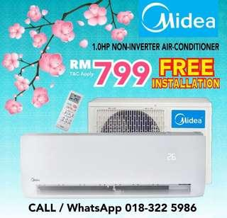 Midea 1HP Aircond RM799 with Installation 🛠