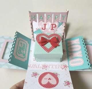 Happy Valentine day Explosion box Card in red and aqua