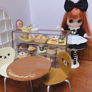 Re-ment 鬆弛熊 場景背景板 + 蛋糕甜點 食玩 + 蛋糕櫃 + 桌椅