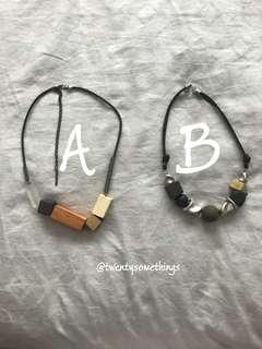 Korean Style Geometric Block Necklace