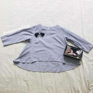 Korean Style Pinstripe Blouse
