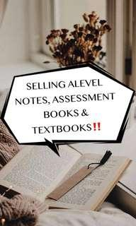Selling ALEVEL Notes, assessment books and textbooks!