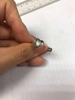 Meteorite heart shape ring with moldavite stone